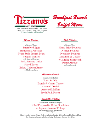 Breakfast/Brunch Buffet Menu
